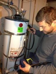 During a home energy audit, Kevel will inspect all combustion equipment, including boilers, furnaces, and water heaters.